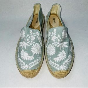 Soludos Embroidered Light Blue Espadrille Slip Ons